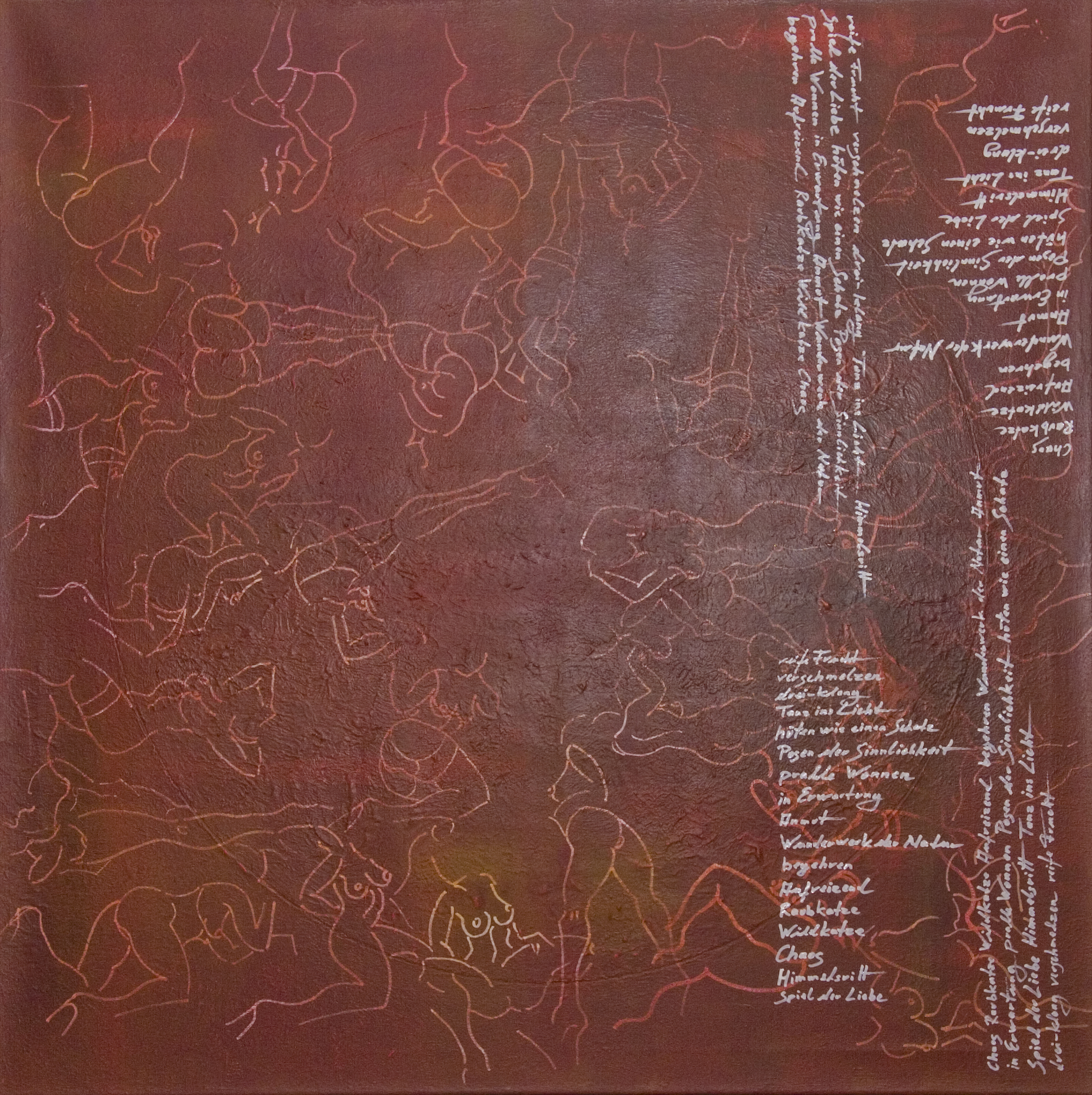 Akt & Schrift Acryl auf Leinen, Lackstift100x100cm 2015