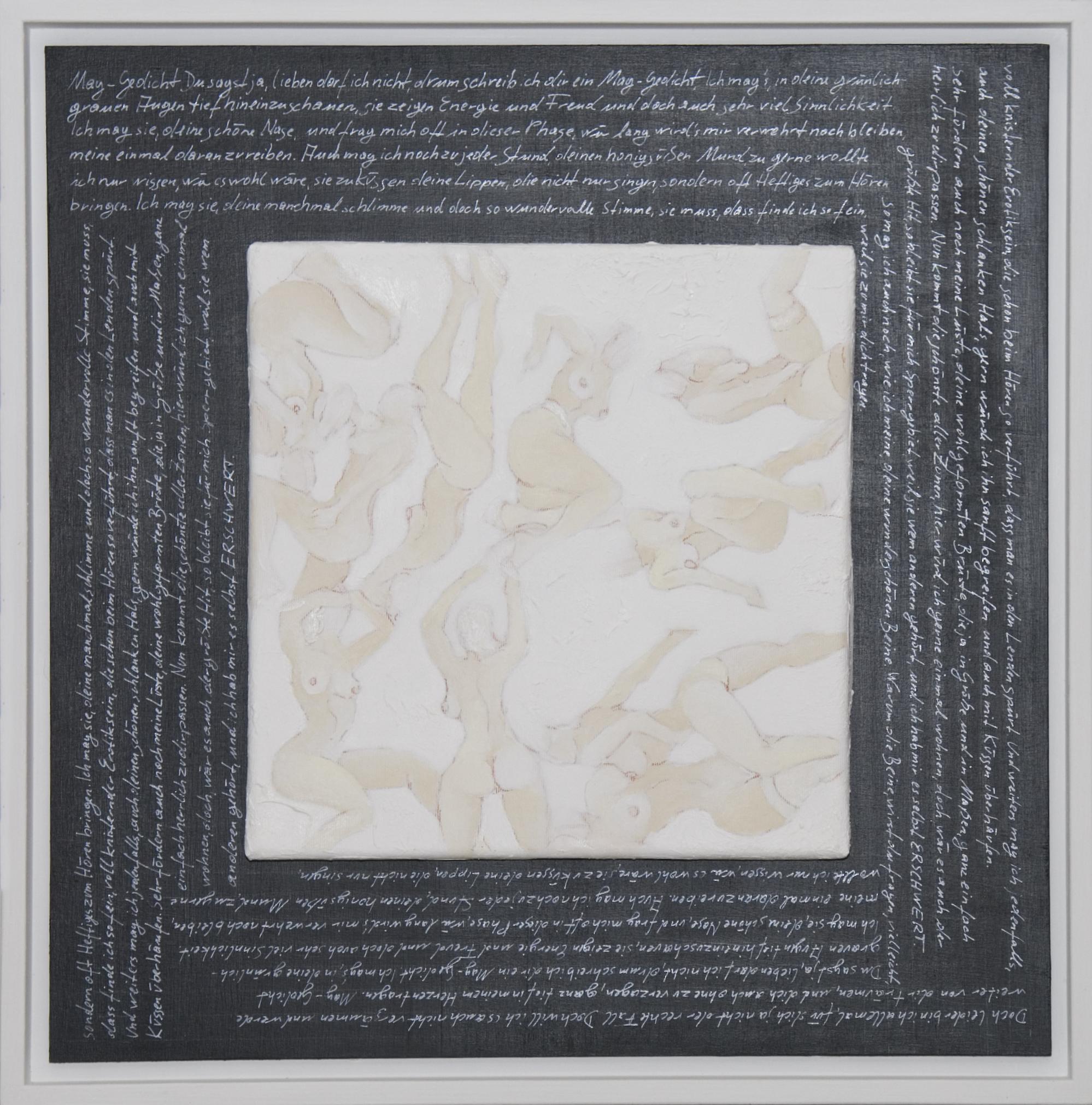 Akte / Schrift Acyrl auf Leinen, Lackstift 50x50cm 2015