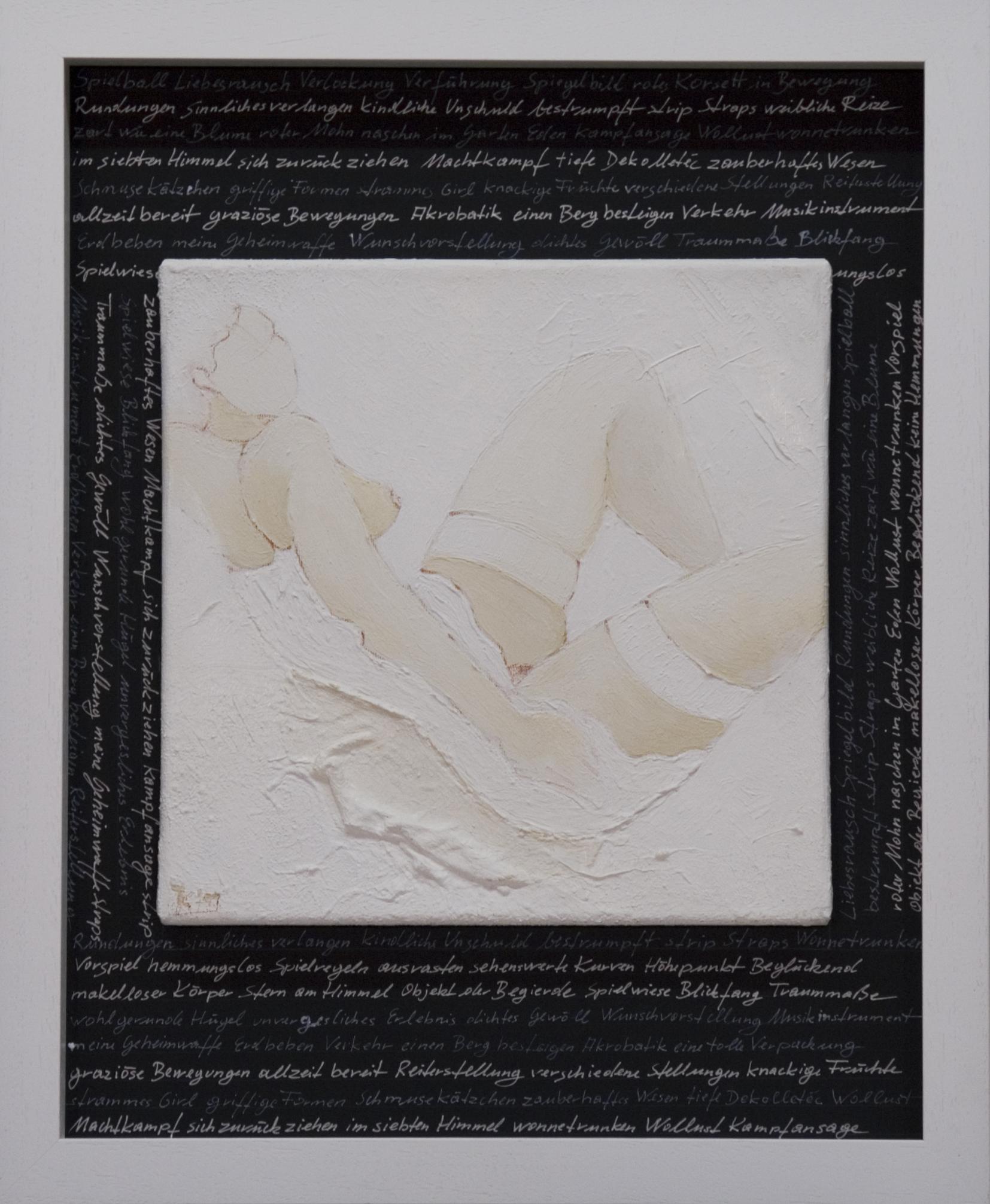 Akte / Schrift / Weiß Acyrl auf Leinen, Lackstift 50x40cm 2015
