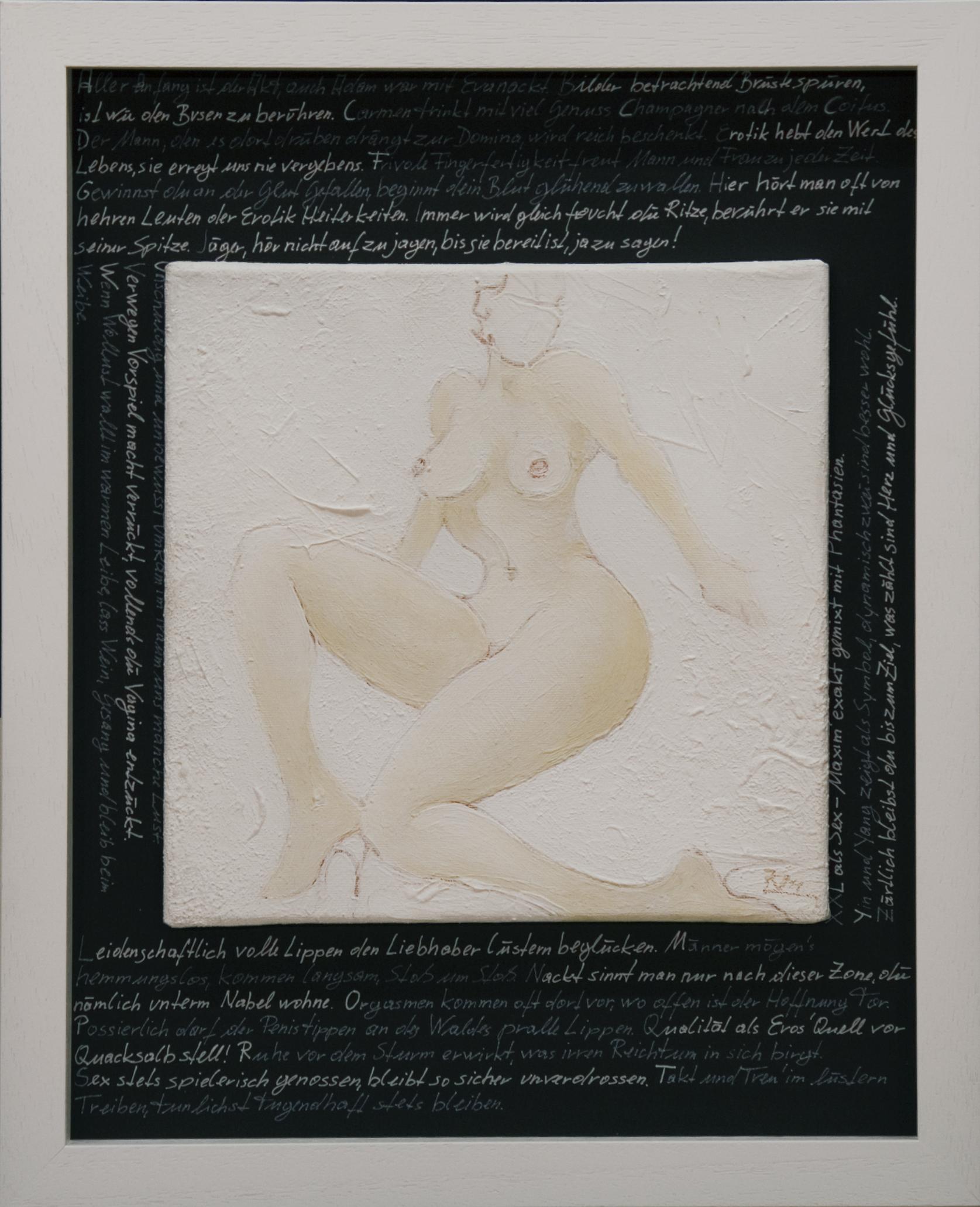 Akte / Schrift / Weiß (Erotisches Alphabet) Acyrl auf Leinen, Lackstift 50x40cm 2015