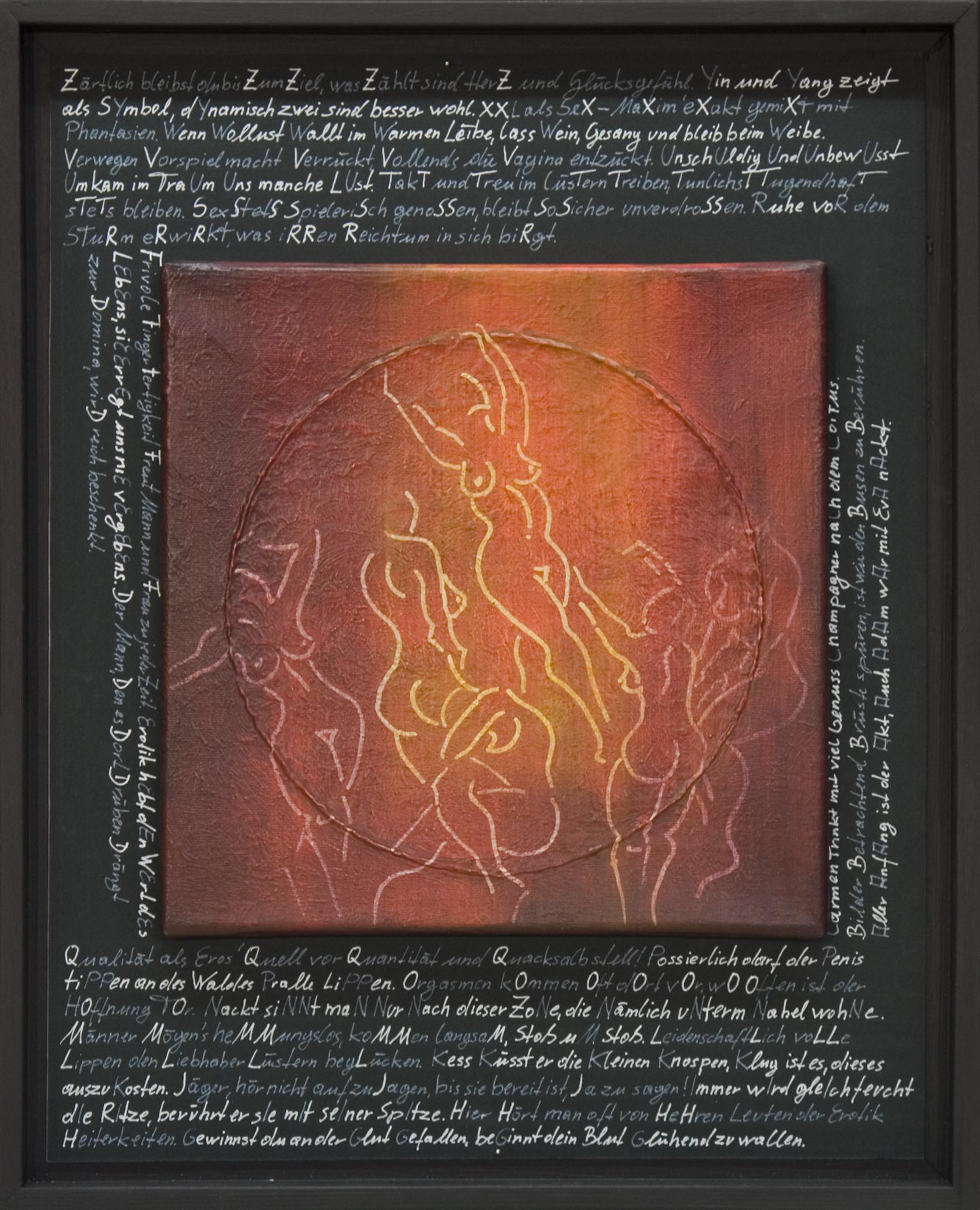 Akt / Schrift (Erotisches Alphabet) Kreide, Buntstift von Tonzeichenpapier 50x40cm 2015